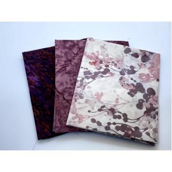 Three Batik Fat Quarters 308C - Cream Pink Burgundy Tones