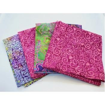 Batik One Third Yard Bundle OT406 - Turquoise Pink & Green Tones - 1 Yard Total