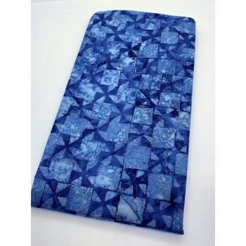 BOLT END - Batik Textiles BT4915 - Blue X Squares - 31 Inches