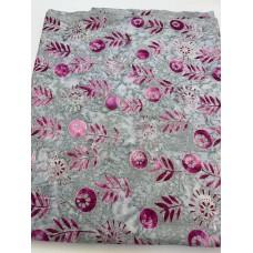 BOLT END - Banyan Batik 80176-28 - Magenta flowers on grey - 1 1/3 yd