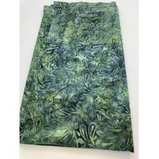 BOLT END - Island Batik 121820656 Turquoise Green Print - 2/3 yd