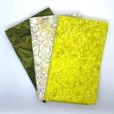 3 Yard Batik Bundle 3YD209 - Olive, Yellow, Cream