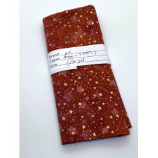 REMNANT - Robert Kaufman Holiday Moments Metallic -  Red Stars - 1/4 yd