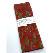 """REMNANT - Robert Kaufman Holiday Moments Metallic -  Green Candles on Red - 6"""" x WOF"""