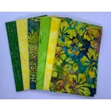 Six Batik Fat Quarters 678 - Yellow & Green Tones