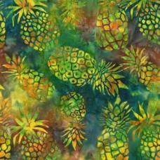 BOLT END - Michael Miller Batik BT8505-PNPL - Yellow & Green Hibiscus