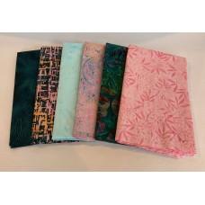 Batik Half Yard Bundle HY630 - Pink & Teal Tones - 3 Yards Total