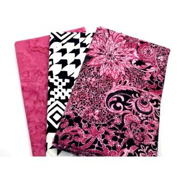 3 Yard Batik Bundle 3YD181 - Pink Black White Metallic