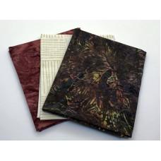 Three Batik Fat Quarters 312C - Brick White Brown Tones