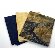 Three Batik Fat Quarters 333C - Brown & Teal Tones