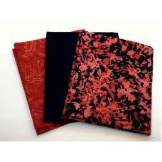 Three Batik Fat Quarters 334C - Black & Red Tones
