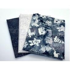 Three Batik Fat Quarters 332C - Grey & White Tones