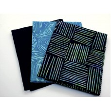 Three Batik Fat Quarters 335C - Black Turquoise & Teal Tones