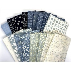 Seventeen Batik Fat Quarters 1700 - Grey Tones