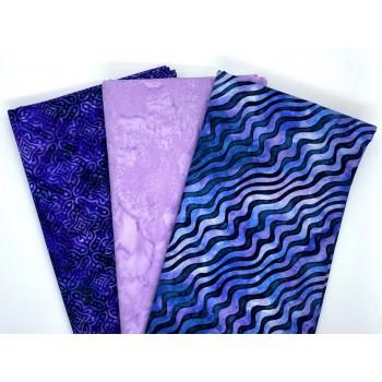 Three Yard Mixed Bundle - Two Yards QT Digital & One Yard Batik - Purple Tones - 3YD182-D - 3 Yds