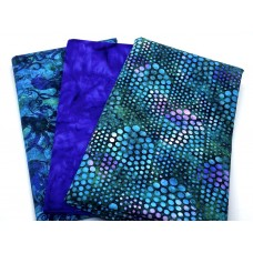 Three Yard Mixed Bundle - Two Yards QT Digital & One Yard Batik - Purple, Blue & Teal Tones - 3YD200-D - 3 Yds