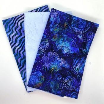 Three Yard Mixed Bundle - Two Yards QT Digital & One Yard Batik - Blue & Teal Tones - 3YD195-D - 3 Yds