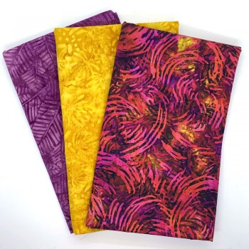 Three Yard Mixed Bundle - One Yard QT Digital & Two Yards Batik - Red Yellow Pink Tones - 3YD171-D - 3 Yds