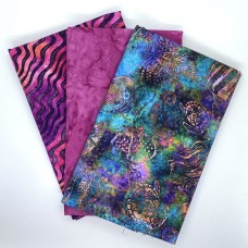 Three Yard Mixed Bundle - Two Yards QT Digital & One Yard Batik - Pink & Teal Tones - 3YD198-D - 3 Yds