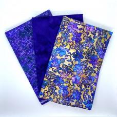 Three Yard Mixed Bundle - Two Yards QT Digital & One Yard Batik - Purple & Tan Tones - 3YD197-D - 3 Yds