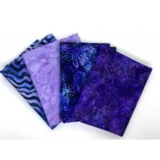Half Yard Mixed Bundle HY435-D - Purple Teal Tones - 2 Yards Total
