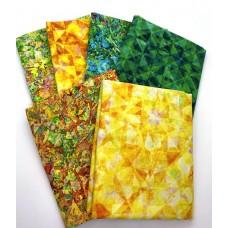 Digital Half Yard Bundle HY634-D - Yellow Green Tones - 2.5 Yards Total