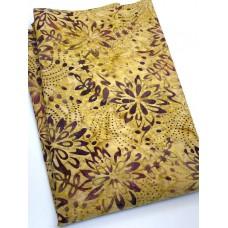 BOLT END - Timeless Treasures Batik B4360 Honey - Purple Flowers on Tan - 1 1/4 yd
