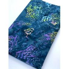 BOLT END - Batik Textiles 4744 - Grapes Wine on Teal - 1 1/3 yd
