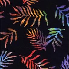 """BOLT END - Timeless Treasures Batik B8669 Multicolor Fronds on Black Wideback - 1/3 yd x 106"""""""