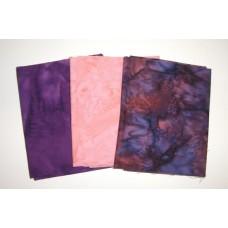 Three Anthology Batik Fat Quarters 309A - Purple, Pink & Blue Tones