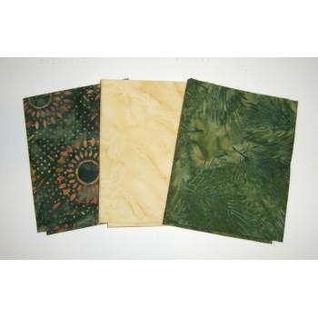 Three Anthology & Island Batik Fat Quarters 311A - Green & Cream Tones