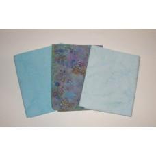 Three Anthology Batik Fat Quarters 316A - Blue & Aqua Tones