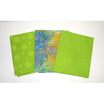 Three Batik Textiles & Anthology Batik Fat Quarters 319A - Lime Green Tones
