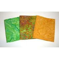 Three Anthology Batik Fat Quarters 323A - Orange & Green Tones