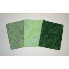 Three Anthology & Clothworks Batik Fat Quarters 326A - Green Tones