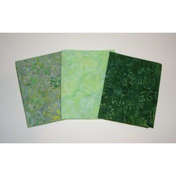 Three Anthology & Clothworks Batik Fat Quarters 326A - Green Tones