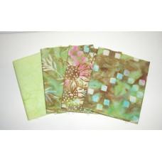Four Anthology & Batik Textiles Fat Quarters 443 - Green & Brown Tones