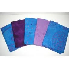 Five Anthology & Batik Textiles Fat Quarters 510 - Blue & Purple Tones