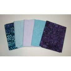Five Anthology Batik Fat Quarters 515 - Teal & Purple Tones