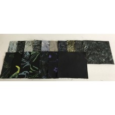 17 Black/Gray Batik Charm Squares - All Different