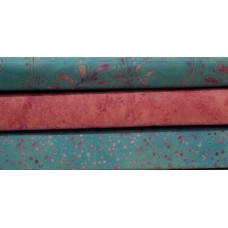 Three Batik Textiles & Island Batik Half Yards RB - Turquoise/Pink/Lavender Tones