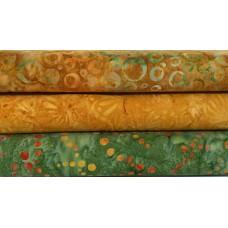 Three Fabrics That Care, Maywood & Cantik Batik Fat Quarters TU - Green, Gold & Orange Tones