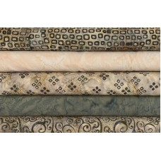 Five Batik Half Yards UJ - Taupe & Gray Tones