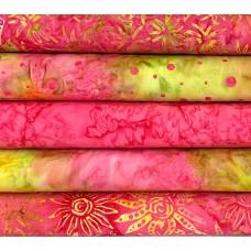 Five Batik Half Yards UN - Pink, Lime Green & Orange Tones