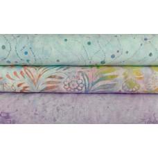 Three Batik Half Yards UO - Multi Pastel Tones