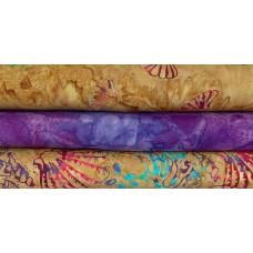 Three Batik Half Yards UQ - Purple & Gold Tones