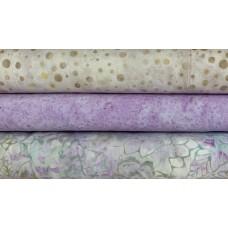 Three Batik Fat Quarters US - Cream, Tan & Lavender Pastel Tones