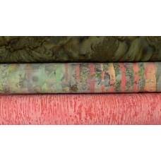 Three Batik Half Yards UT - Peach & Green Tones