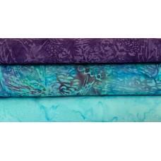 Three Batik Half Yards UV - Purple & Turquoise Tones