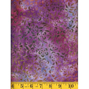 Anthology Batik 10305 - Small Green and Orange Flowers on Pink, Purple & Blue